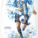 Collectible Head & Shoulders shampoo bottles for the Brazil 2014 World Cup. Mosaic illustrations of famous soccer players made out of flags and national colors.